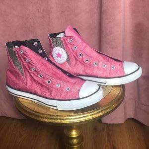Converse Pink Glitter with metallic lighteningbolt